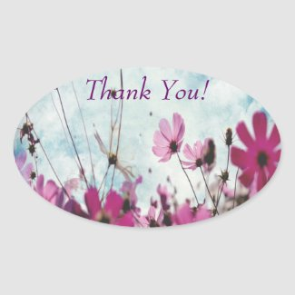 Visions In Pink THANK YOU Oval Stickers sticker