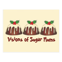 Visions of Sugar Plums Christmas Plum Pudding Postcard