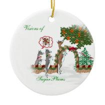 Visions of SugarPlums Goat Christmas Ceramic Ornament