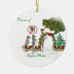 Visions of SugarPlums Goat Christmas Double-Sided Ceramic Round Christmas Ornament