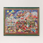 """Visions of Sugarplums Jigsaw Puzzle with Border<br><div class=""""desc"""">The Visions of Sugarplums puzzle by Chris Davenport Dok. Santas and reindeer, mistletoe and holly, 'tis the season to be jolly! Popcorn and cranberries strung on a string, such fond memories the holidays bring. Gingerbread cookies, a tasty delight, made with love to make your day bright! The children in bed,...</div>"""