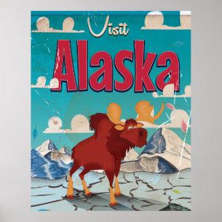 Visit Alaska Cartoon Vintage Poster