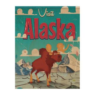 Visit Alaska Cartoon Vintage Poster Wood Wall Art