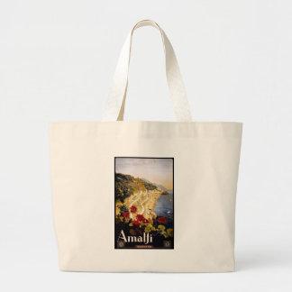 Visit Amalfi Poster Large Tote Bag