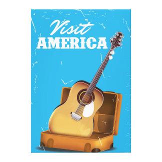 Visit america vintage travel poster canvas print
