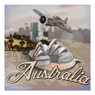 Visit Australia vintage travel poster