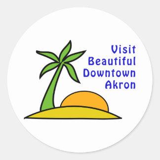 Visit Beautiful Downtown Akron Classic Round Sticker
