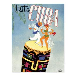 Visit Cuba Tiki Fiesta Siesta Vintage Holiday Isle Postcard