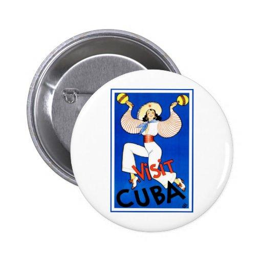 Visit Cuba Vintage 2 Inch Round Button