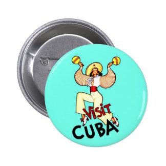 Visit Cuba Vintage Travel Button