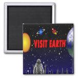 Visit Earth Spaceman Fridge Magnet
