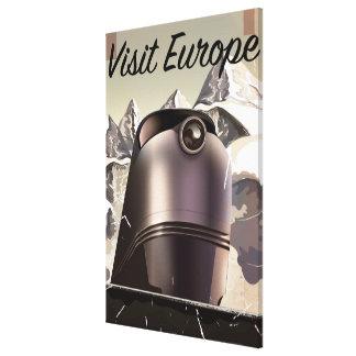 Visit europe Vintage locomotive Travel Poster Canvas Print