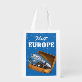 Visit Europe vintage vacation print. Reusable Grocery Bag