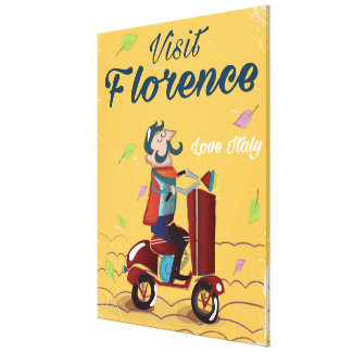 Visit Florence Italian scooter travel poster Canvas Print
