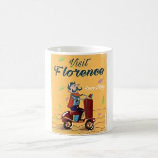 Visit Florence Italian scooter travel poster Coffee Mug
