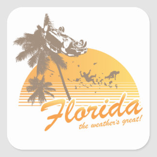 Visit Florida, the Weather's Great - hurricane Square Sticker