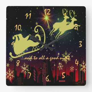 visit from st Nicholas Night Before Christmas Square Wall Clock