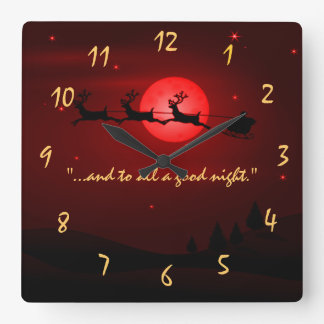 visit from st nicholas Night Before Christms Square Wall Clock