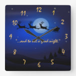 visit from st nicholas Night Before Christms Square Wall Clocks