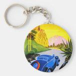 Visit Greece ~ Vintage Automobile Travel Ad Keychains