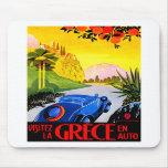 Visit Greece ~ Vintage Automobile Travel Ad Mouse Pad