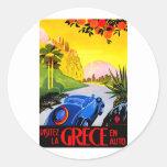 Visit Greece ~ Vintage Automobile Travel Ad Stickers