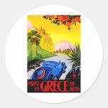 Visit Greece ~ Vintage Automobile Travel Ad Classic Round Sticker