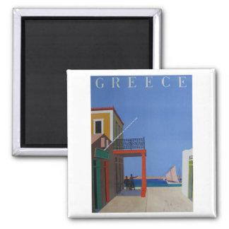 Visit Greece Vintage Poster 2 Inch Square Magnet