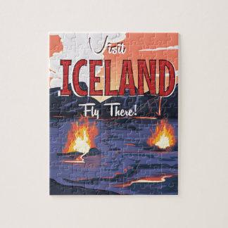 Visit Iceland vintage travel poster Jigsaw Puzzle
