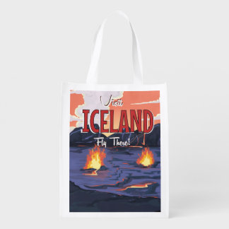 Visit Iceland vintage travel poster Reusable Grocery Bags