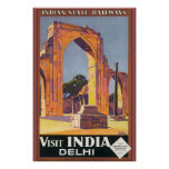 Visit India Delhi Vintage Travel Poster