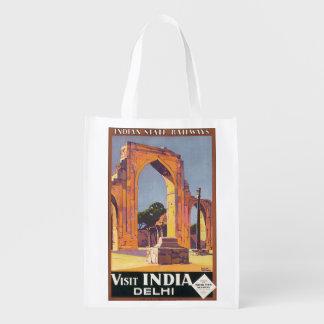 Visit India Delhi Vintage Travel Poster Grocery Bag
