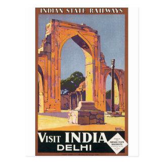 Visit India Delhi Vintage Travel Poster Postcard