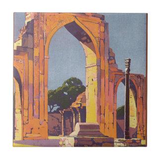 Visit India Delhi Vintage Travel Poster Tile