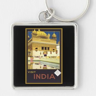Visit India Vintage Travel Art Keychain