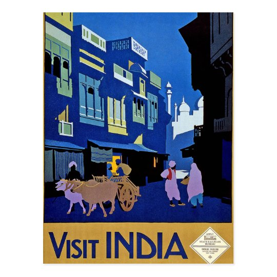 Visit India Vintage Travel Art Postcard