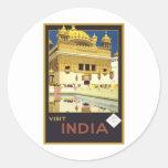 Visit India Vintage Travel Art Stickers