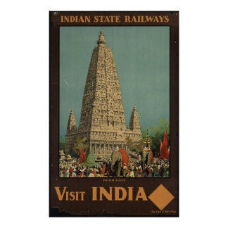 Visit India Vintage Travel Poster Ad Retro Prints
