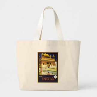 Visit India Vintage Travel Poster Art Tote Bags