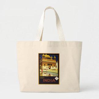 Visit India Vintage Travel Poster Art Large Tote Bag