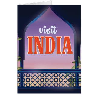 Visit India Vintage travel print. Card