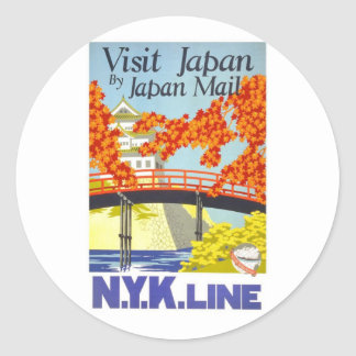 Visit Japan By Mail - N.Y.K. Lines Classic Round Sticker