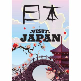 Visit Japan retro travel poster. Cutout