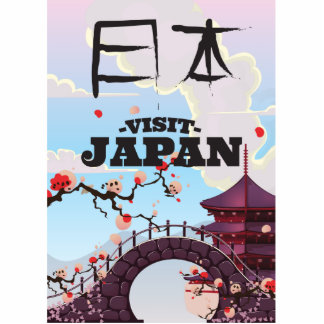 Visit Japan retro travel poster. Statuette