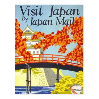 Visit Japan Vintage Travel Art Postcard