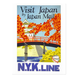 """Visit Japan"" Vintage Travel Poster Postcard"