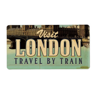 Visit London vintage poster Label