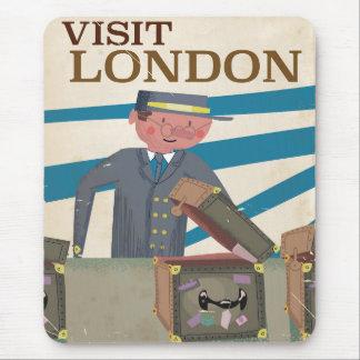 Visit London vintage travel poster art Mouse Pad