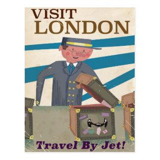 Visit London vintage travel poster art Postcard