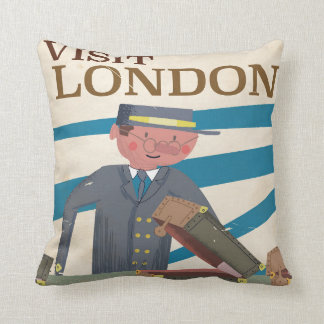 Visit London vintage travel poster art Throw Pillow